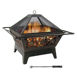 Northern Galaxy Square Wood-Burning Fire Pit, 32 Inch, with Cooking Grate and Spark Screen by Su ...