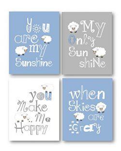 Blue and Gray Nursery Decor, You Are My Sunshine Art, Little Lamb Wall Decor, Nursery Wall Art,  ...