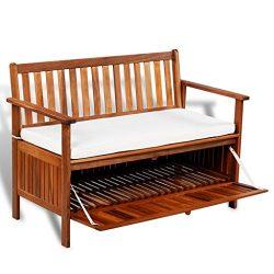 Festnight Outdoor Patio Storage Bench Garden Deck Box with Cushion, 47″ x 25″ x 33&# ...