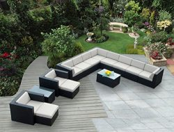 Ohana 14-Piece Outdoor Wicker Patio Furniture Sectional Conversation Set  with Weather Resistant ...