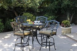 Darlee Ten Star Cast Aluminum 5-Piece Bar Set with Seat Cushions and 42-Inch Bar Table, Antique  ...