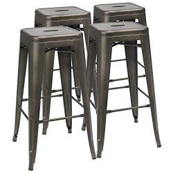 "Furmax 30"" High Metal Stools Backless Metal Stool Tolix Bar Stool Indoor-Outdoor Stackable ..."