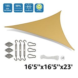 "Doeworks Rectangle 16'5"" Sun Shade Sail with Stainless Steel Hardware Kit, Idea for  ..."