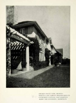1909 Print Architecture Pergola Shadows Yard House Cockcroft Cottage Hamptons – Original H ...