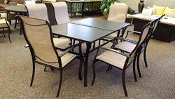 Rose Garden Wind River Aluminum 7 Piece Glass Tabletop Patio Dining Set