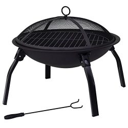 Giantex 22″ Portable Folding Fire Pit with Carrying Case BBQ 4 Leg Fire bowl Cooking Campf ...