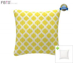 Indoor/Outdoor Throw Pillow with Insert 18×18 Inches Decorative Square Yellow Cushion Cover ...
