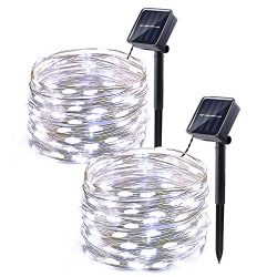 Icicle Solar Fairy Lights, 2 Pack 33ft 100LED Light Sensor Control Flexible Copper Wire Waterpro ...