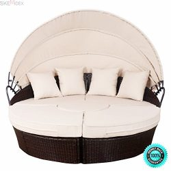 SKEMiDEX—Outdoor Mix Brown Rattan Patio Sofa Furniture Round Retractable Canopy Daybed. an ...