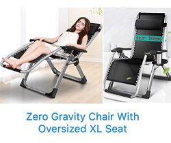FOUR SEASONS OVERSIZED XL WIDE SEAT ( Seat width: 22.5″ ) Upgraded Zero Gravity Chair Loun ...
