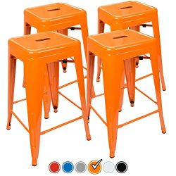 "24"" Counter Height Bar Stools! (ORANGE) by UrbanMod, [Set Of 4] Stackable, Indoor/Outdoor, Kitch ..."