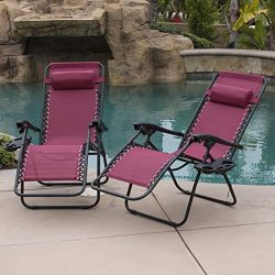 Belleze 2-Pack Zero Gravity Chairs Patio Lounge +Cup Holder/Utility Tray (Burgundy)