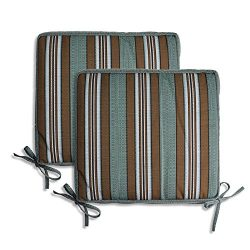 PacifiCasual Indoor/Outdoor All Weather Chair Pads 16″ X 16″ Seat Cushions Garden Pa ...