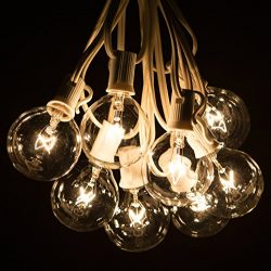 50 Foot G50 Clear Globe String Lights (White Wire) and 2 Inch Bulbs for Weddings, Tents, Indoor/ ...