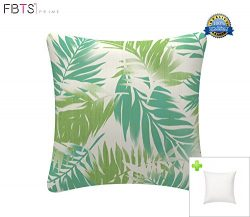 Indoor/Outdoor Throw Pillow with Insert 18×18 Inches Decorative Square Mint Leaf Cushion Co ...
