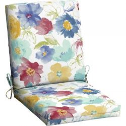 Mainstays Outdoor Patio Dining Chair Cushion (Watecolor Floral)