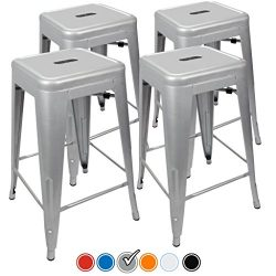 """24"""" Counter Height Bar Stools! (SILVER) by UrbanMod, [Set Of 4] Stackable, Indoor/Outdoor, Kitch ..."""