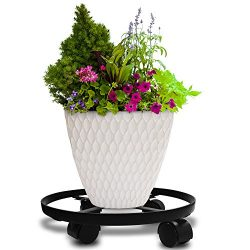 Amagabeli 14″ Metal Plant Caddy HEAVY DUTY Iron Potted Plant Stand with Wheels Round Flowe ...