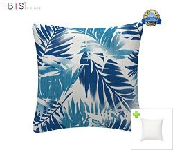 Indoor/Outdoor Throw Pillow with Insert 18×18 Inches Decorative Square Navy Leaf Cushion Co ...