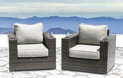 Lucca collection Outdoor Furniture Patio Sofa Couch Garden, Backyard, Porch or Pool All-Weather  ...