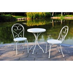 Small Space Scroll 3 Piece Chairs & Table Outdoor Furniture Bistro Set, White, Seats 2