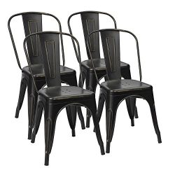 Furmax Metal Dining Chairs Distressed Black Golden Indoor/Outdoor Use Stackable Dining Bistro Ca ...