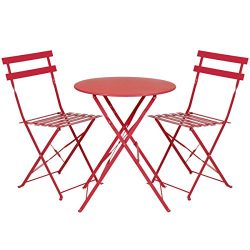 Best Choice Products Outdoor Patio Folding Metal Bistro Set, Table And 2 Chairs- Red