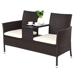 Tangkula Paito Conversation Set Outdoor Wicker with Table Chat Set