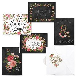 Canopy Street Chalkboard Floral Thank You Note Card Assortment Pack – Set of 36 with White ...