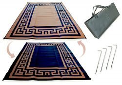 Redwood Mats Patio Mat 9′ X 12′ Greek Key – Brown/ Black Rv Mat Reversible Out ...