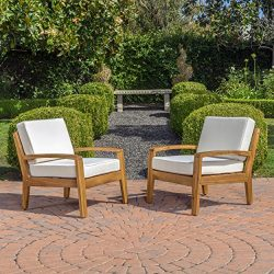 Parma 4 Piece Outdoor Wood Patio Furniture Chat Set w/ Water Resistant Cushions (Set of Two Chai ...