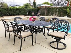 Elise 7-Piece Cast Aluminum Patio Dining Set (4 Stationary Chairs & 2 Swivel Rockers)
