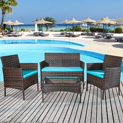 Merax 4 PCS Patio Furniture Set Outdoor Garden Conversation Set (Cushion Blue)