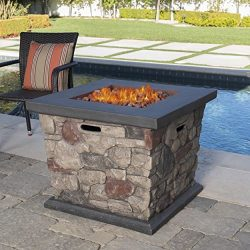 Crawford Outdoor Stone Finished Square Fire Pit – 40,000 BTU
