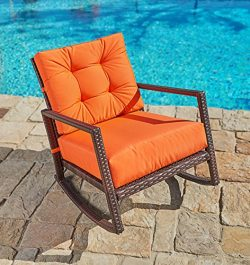 Suncrown Outdoor Furniture Vibrant Orange Patio Rocking Chair | All-Weather Wicker Seat with Thi ...