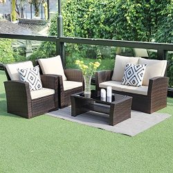 5 piece Outdoor Patio Furniture Sets,Wisteria Lane Wicker Ratten Sectional Sofa With Seat Cushio ...