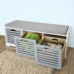 Haotian FSR23-HG, Storage Bench with 3 Drawers & Padded Seat Cushion, Hallway Bench Shoe Cab ...