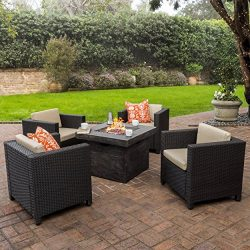 Venice Patio Furniture 5 Piece Outdoor Wicker Patio Chair Set with Propane Fire (Table) Pit (40, ...