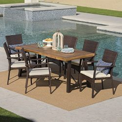 Playa Outdoor 7 Piece Dining Set with Teak Finished Wood Table and Brown Wicker Dining Chairs wi ...
