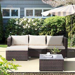 GTM 5PC Wicker Rattan Patio Sofa Set Outdoor Garden Furniture,Brown