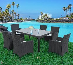 Merax 7-piece Outdoor Wicker Dining set – Dining table set for 6 – Patio Rattan Furn ...