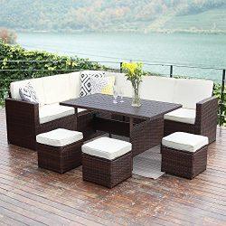 10PCS Patio Sectional Furniture Set,Wisteria Lane Outdoor Conversation Sofa Set All-Weather Wick ...