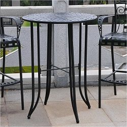 Pemberly Row Iron Antique Black Bar-height Patio Bar Table
