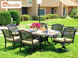 Nevada 7-Piece Cast Aluminum Patio Dining Set (4 Stationary Chairs & 2 Swivel Rockers)