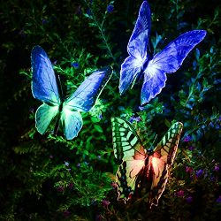 Garden Solar Lights Kearui Patio Automatic Color Changing Butterfly Solar Stakes Lights Solar Bu ...