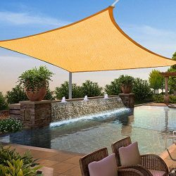 Shade&Beyond 12′ x 12′ Square Sun Shade Sail Beige Color for Patio Yard Deck UV  ...
