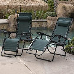 Belleze 2-Pack Zero Gravity Chairs Patio Lounge +Cup Holder/Utility Tray (Green)
