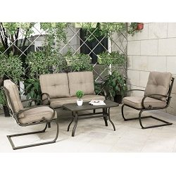 Cloud Mountain 4 Piece Cushioned Outdoor Furniture Garden Patio Conversation Set, Wrought Iron C ...