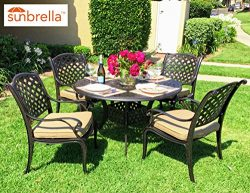 Nevada 5-Piece Cast Aluminum Patio Dining Set (4 Stationary Chairs)