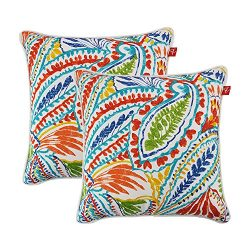 PacifiCasual Set of 2 Patio Indoor/Outdoor Decorative Throw Pillow Cover Cushion Case for Replac ...
